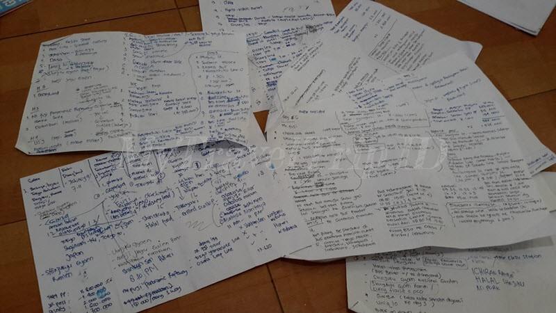 Kertas Itinerary dan Budget yang Sering Aku Revisi hehe..